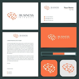 Brain artificial intelligence logo and business card premium vector