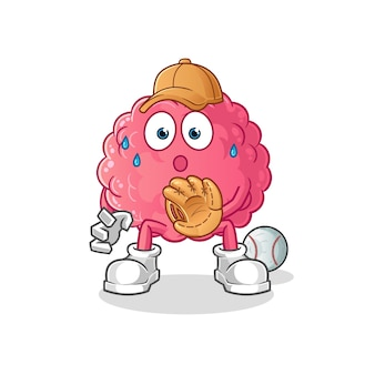 Brain baseball catcher cartoon. cartoon mascot
