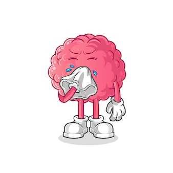 Brain blowing nose character. cartoon mascot