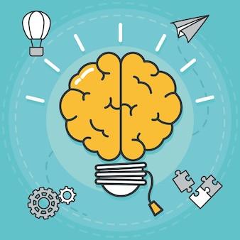 Мозговая лампочка и большие идеи значков вокруг