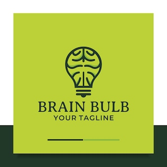두뇌 전구 로고 디자인 생각 아이디어