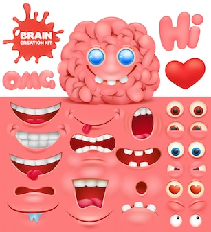 Brain cartoon character creation set. do it yourself collection.