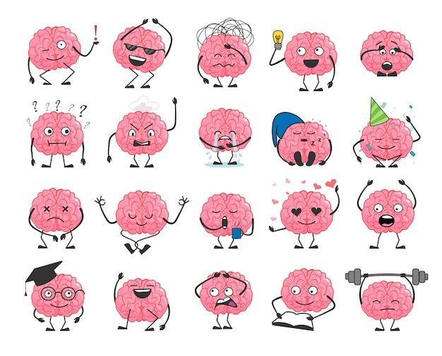 Brain cartoon character set with happy face smile
