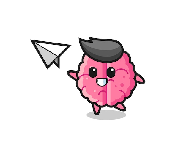 Brain cartoon character throwing paper airplane , cute style design for t shirt, sticker, logo element