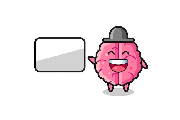 プレゼンテーションを行う脳の漫画イラスト、tシャツ、ステッカー、ロゴ要素のかわいいスタイルのデザイン