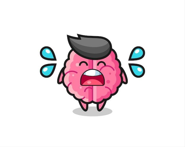 泣きジェスチャー、tシャツ、ステッカー、ロゴ要素のかわいいスタイルのデザインと脳の漫画イラスト