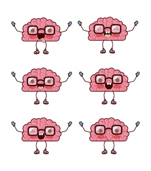 Brain cartoon pattern with glasses