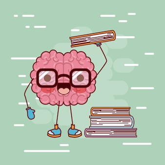 Brain cartoon with glasses and books