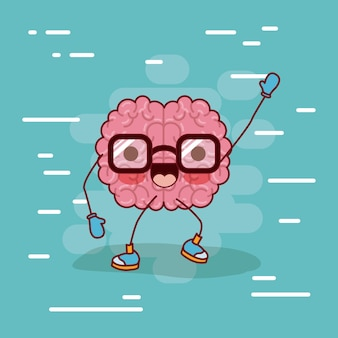 Brain cartoon with glasses and greeting