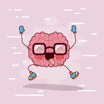 Brain cartoon with glasses and happy
