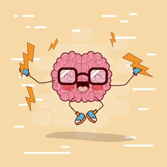 Brain cartoon with glasses and jumping with lightnings