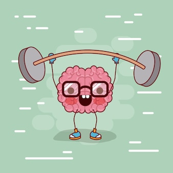 Brain cartoon with glasses and weightlifting