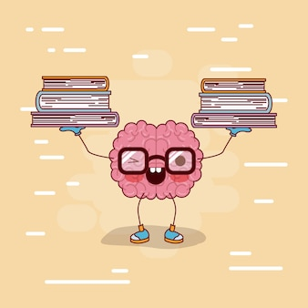 Brain cartoon with glasses with books