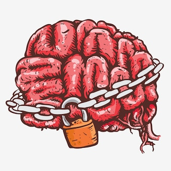 Brain in chains locked hand drawing line art