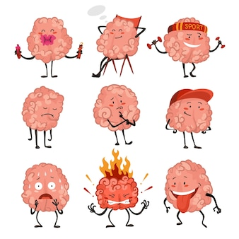Brain character emotion. brain characters making sport exercises and different activities