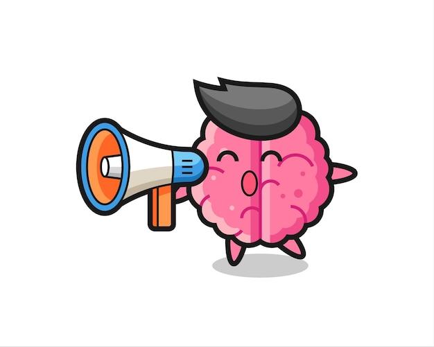 확성기를 들고 있는 두뇌 캐릭터 그림, 티셔츠, 스티커, 로고 요소를 위한 귀여운 스타일 디자인