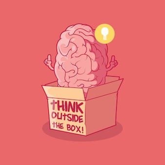 Brain character outside the box vector illustration intelligence creativity funny design concept