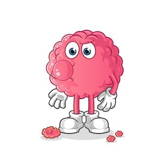 Brain chewing gum . cartoon character