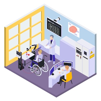 Brain chip implant for disabled patients isometric illustration