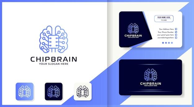 Дизайн логотипа технологии мозгового чипа использует монолинию и визитную карточку