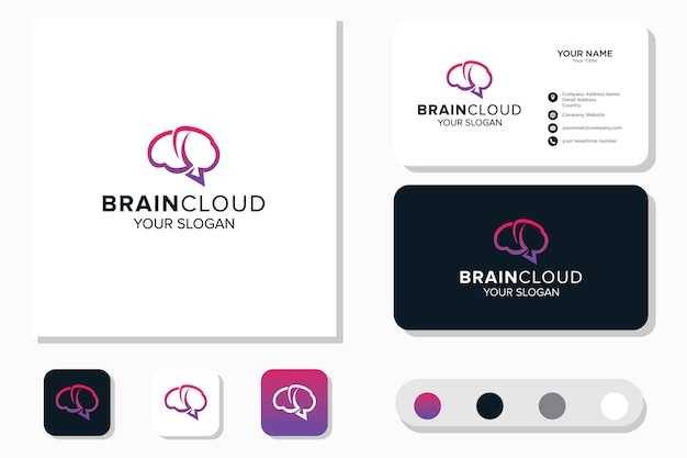 Brain and cloud logo design and business card