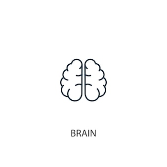 두뇌 개념 라인 아이콘입니다. 간단한 요소 그림입니다. 뇌 개념 개요 기호 디자인입니다. 웹 및 모바일 ui/ux에 사용할 수 있습니다.