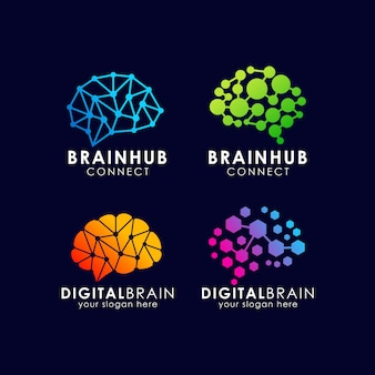 Brain connection logo design. digital brain logo template