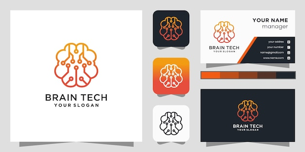 脳接続ロゴデザインテンプレート