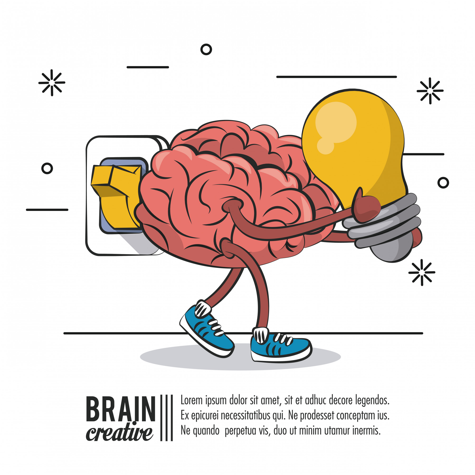 Brain creative poster with information