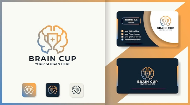 Логотип линии чашки мозга и дизайн визитной карточки