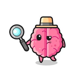 두뇌 탐정 캐릭터가 케이스, 티셔츠, 스티커, 로고 요소를 위한 귀여운 스타일 디자인을 분석하고 있습니다