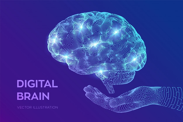 Brain. digital brain in hand. neural network.
