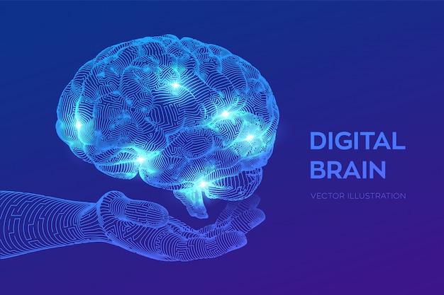 Головной мозг. цифровой мозг в руках. нейронная сеть.