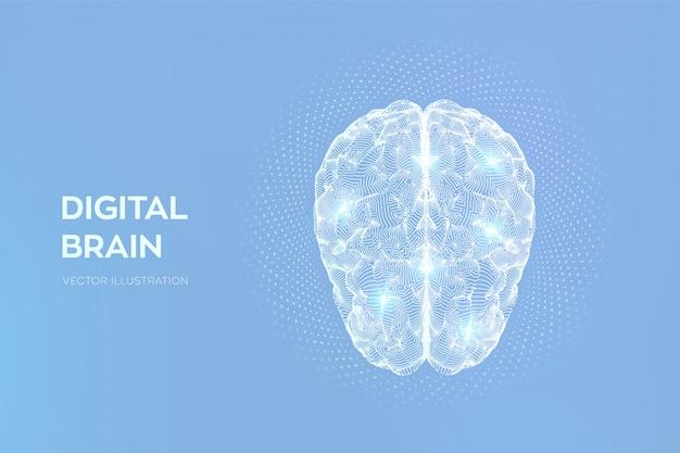 Головной мозг. цифровой мозг с двоичным кодом. нейронная сеть.