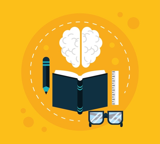 Brain and education set icons