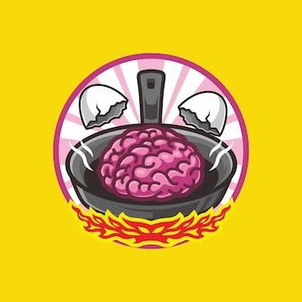 Brain egg on frying pan cartoon mascot drawing vector