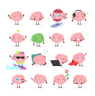 Of brain emoji, emotion brainy character in different positions and emotions, brainstorming set