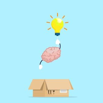 전구로 상자 밖으로 날아가는 뇌는 상자 개념 벡터 일러스트 레이 션 평면 디자인을 생각합니다.