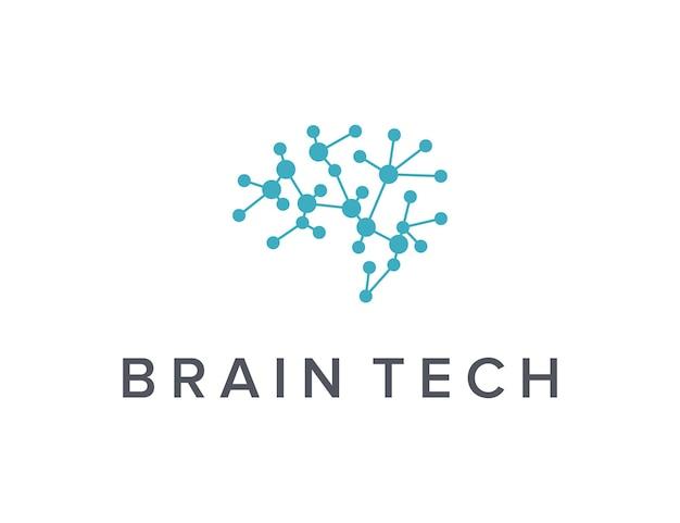 기술 산업에 대한 두뇌 단순하고 세련된 창조적 기하학적 현대 로고 디자인