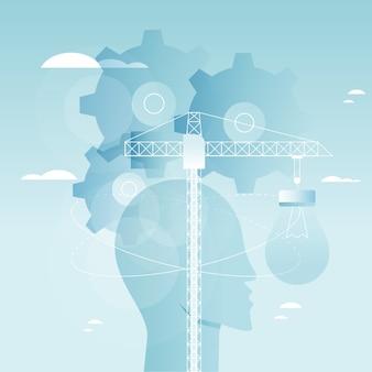 뇌 기능, 문제 해결, 창의성, 심리적 과정 벡터 일러스트 디자인