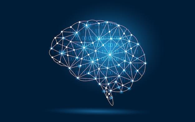 Brain graphic binary blue technology