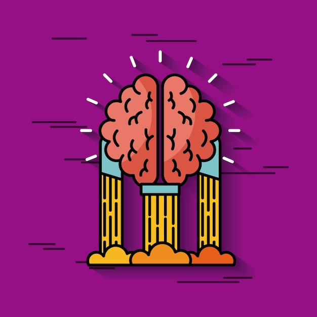 Brain hanging ideas illustration