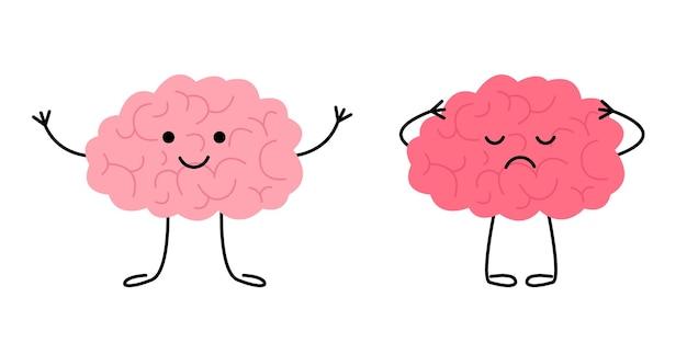 Мозг счастливых здоровых и грустных больных персонажей проверьте здоровье психического органа мозга