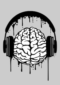 Brain headphone illustration