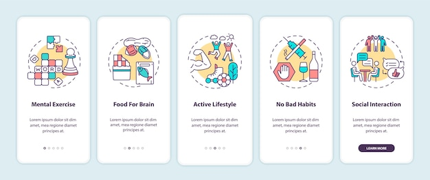 Brain health care onboarding mobile app page screen with concepts