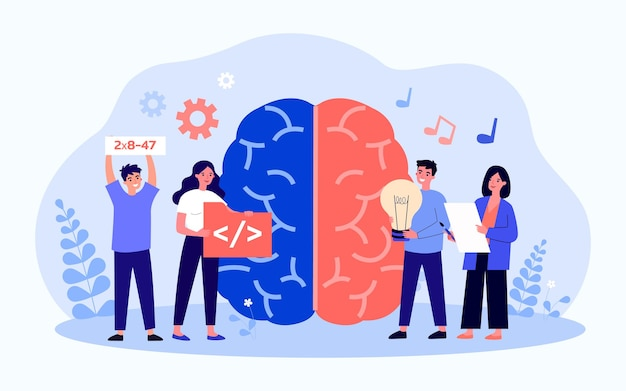 Brain hemispheres responsible for creativity and science. flat vector illustration. giant brain, tiny talented people with humanitarian, technical skills symbols. neurobiology, talent, job concept