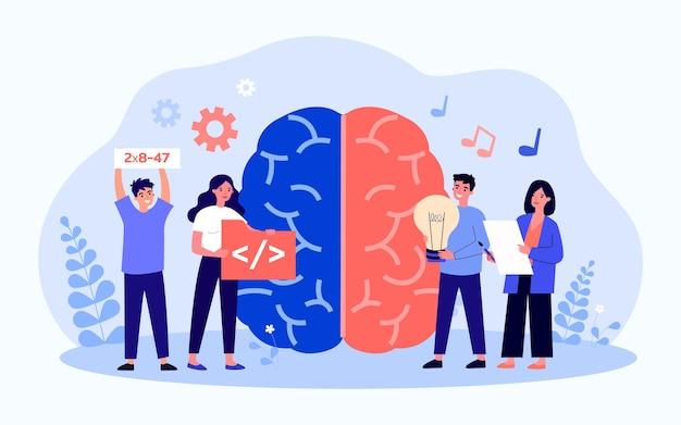 Полушария мозга отвечают за творчество и науку. плоские векторные иллюстрации. гигантский мозг, крошечные талантливые люди с символами гуманитарных, технических навыков. нейробиология, талант, концепция работы