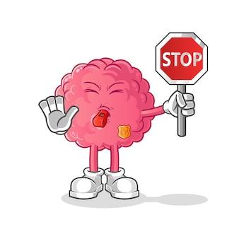 Brain holding stop sign cartoon.