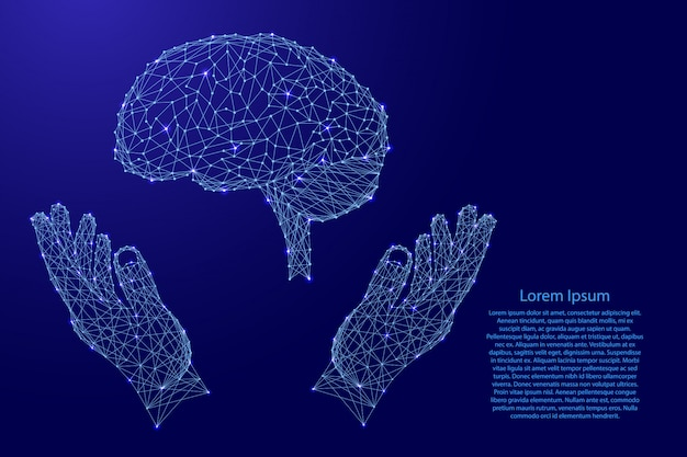 Brain, human organ and two holding, protecting hands from futuristic polygonal blue lines