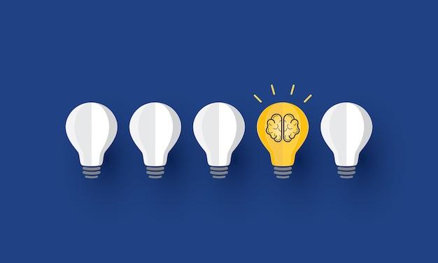 電球の中の脳のアイコンクリエイティブなアイデアコンセプトインスピレーションビジネス